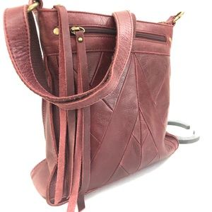 LUCKY BRAND Oxblood Brown Leather Crossbody Purse
